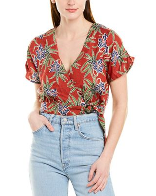 Moon River Printed Linen-Blend Wrap Top