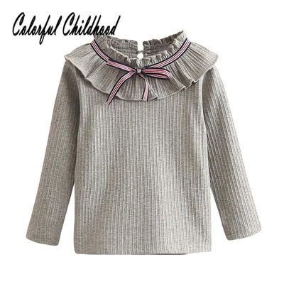 2018 Baby Girls Blouses Sweet Ruffles Collar Long Sleeve Shirts Antumn Newborn Infant Baby Bottoming Shirt Tops kids clothing