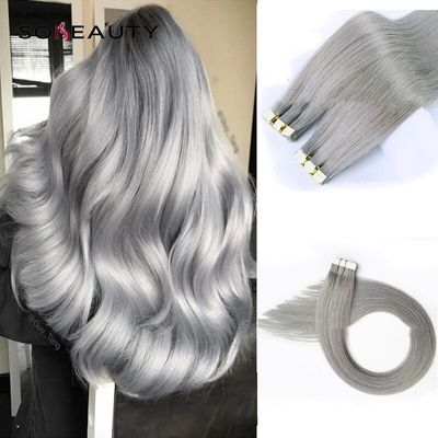 Sobeauty Tape In Human Hair Extensions Straight Indian Remy Grey Hair On Adhesive Invisible PU Skin Weft Extension 20pcs/pack