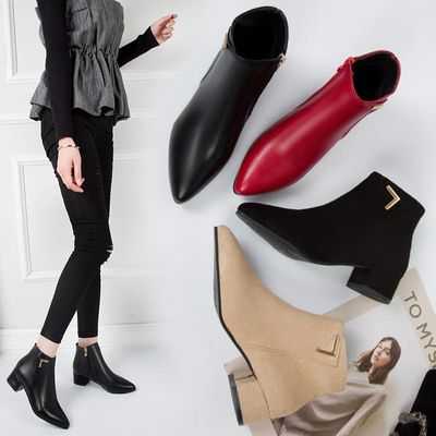 Women Boots Casual Leather Low High Heels Spring Shoes Woman Pointed Toe Rubber Ankle  Black Red Zapatos Mujer Plus Size 35-42