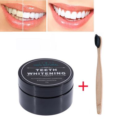 2Pcs Natural Activated Bamboo Charcoal Teeth Whitening Powder With Toothbrush Antibacterial Dental Powder Remove Stain Cleaning