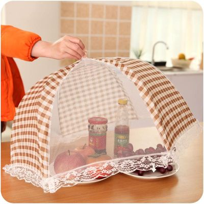 1pc Kitchen Folded Mesh Food Cover Anti Fly Mosquito Umbrella Hygiene Grid Style Food Plate Cover Barbecue Picnic Kitchen Tools