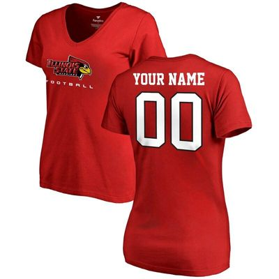 Illinois State Redbirds Women's Personalized Football T-Shirt - Red