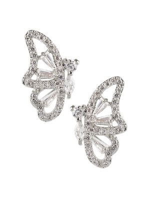 CZ by Kenneth Jay Lane Animal Trend Rhodium-Plated & Crystal Butterfly Earrings