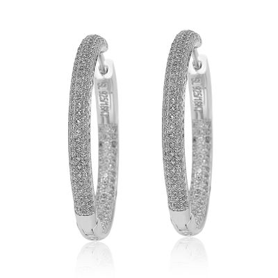 Suzy Levian Sterling Silver & White Cubic Zirconia Pave Hoop Earrings