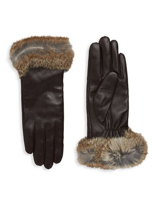Surell Dyed Rabbit Fur-Trim Leather Gloves