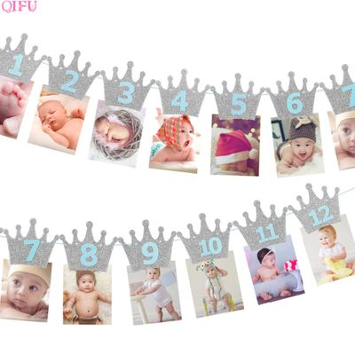Baby 1st Birthday Banner Flag Monthly ONE Year Bunting Garland Baby Shower Boy Girl First Happy Birthday Party Decorations Kids