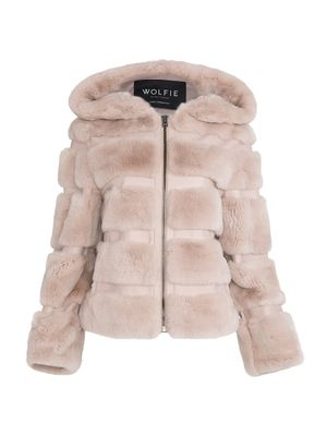 WOLFIE FURS Made for Generation Hooded Rex Rabbit Fur & Leather Hoodie
