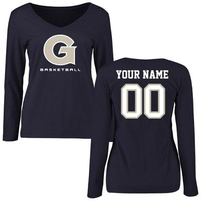 Georgetown Hoyas Women's Personalized Basketball Long Sleeve T-Shirt - Navy