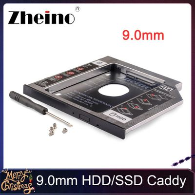 Zheino Aluminum 9.0mm 2nd HDD SSD Caddy 2.5 SATA to SATA Frame Caddy HDD Case Adapter Bay For notebook Laptop CD/DVD-ROM ODD