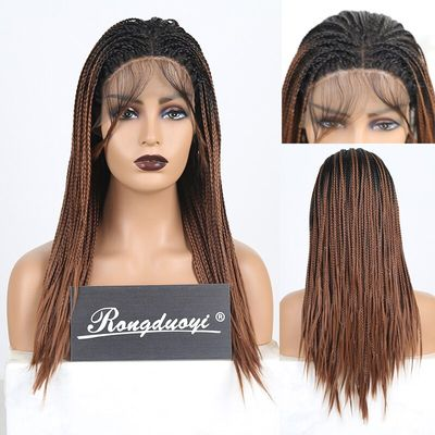 RONGDUOYI Ombre Brown Synthetic Lace Front Wig Two Tone Fiber Hair Braided Box Braids Wigs for Women Middle Part Medium Lace Wig