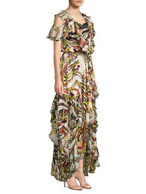 Faith Connexion Asymmetrical Floral High-Low Silk Maxi Dress