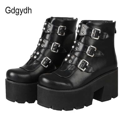 Gdgydh Sexy Rivet Womens Ankle Boots Platform Shoes High Heels Chunky Heel Gothic Black Leather Boots Lady Drop Ship Big Size 46