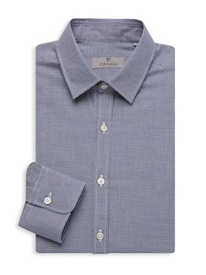 Canali Slim-Fit Houndstooth Dress Shirt