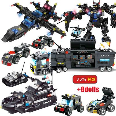 725PCS City Police Station Building Blocks TOYS City SWAT Team Truck Block Educational Toy For Kids Children  Christmas gift