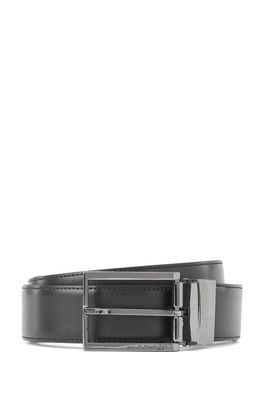 HUGO BOSS - Reversible Belt In Plain And Structured Leather With Dual Buckles