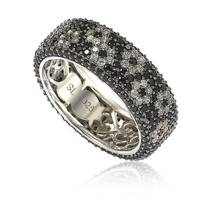 Suzy Levian Sterling Silver Cubic Zirconia White & Black Pave Flower Eternity Band Ring