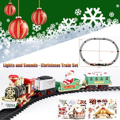Children's toy lights and sounds Christmas train set railway track toy Christmas train gift model train New Year boy gift