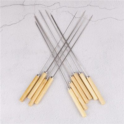 10PCS/lot BBQ Skewers Handle With Handle 35CM Barbecue Needle Wood Stainless Steel Flattened Rounded Sign Optional Meat