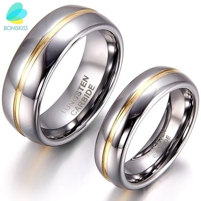 BONISKISS Couple Inset Tungsten Carbide Ring for Anniversary Engagement Wedding Rings 6/8 mm Bague Femme Lovers' Jewelry Ring