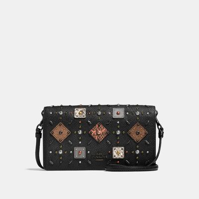 COACH Foldover Crossbody Clutch With Prairie Rivets And Snakeskin Detail
