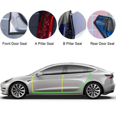 8PCS Door Seal Kit for Tesla Model 3, Soundproof Wind Noise Reduction Car Door Trim Edge Moulding Rubber Weatherstrip Seal Strip