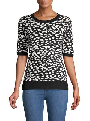 T Tahari Elbow-Sleeve Ribbed Jacquard Sweater