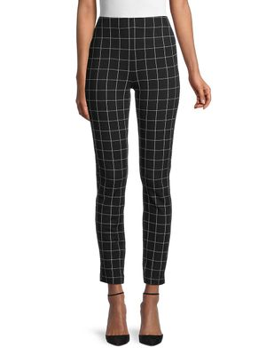 Pure Navy Windowpane Check Cropped Pants