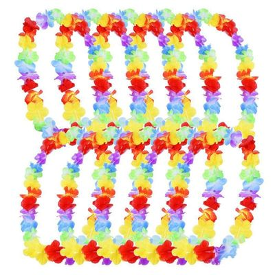5 Pcs Hawaii Party Leis Flower Wreath Garland Hawaiian Necklace Hawai Floral Farmhouse Party Decor Supplies Garland Decoration