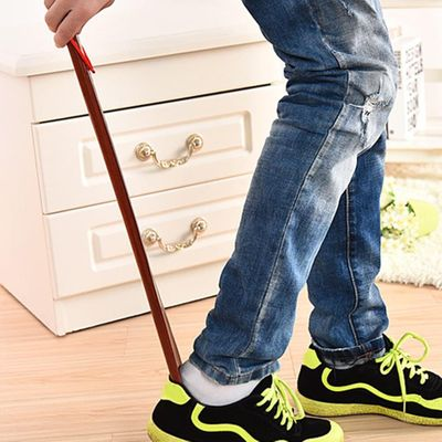 Stick Lifter Long Handle Practical Durable Hanging Loop 55cm Red Wooden Flexible Shoe Horn Useful Home Portable