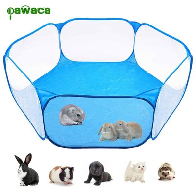 Small Animals Cage Pet Tent Fence Portable Yard Fence Playpen Outdoor Indoor Pop Open Pet Exercise Fence for Guinea Pig Hamsters