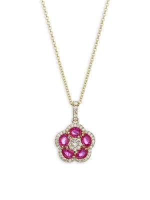 Effy 14K Yellow Gold, Ruby & Diamond Flower Pendant Necklace