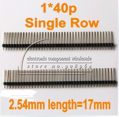 wholesale 200PCS /LOT 1x40P PIN length=17mm  2.54mm pitch Straight Angle Single Row Pin Connector Male Header