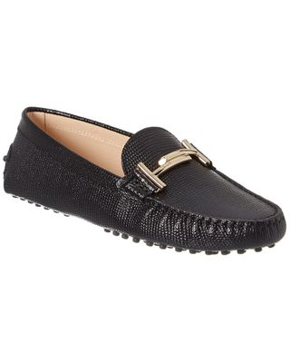 TOD's Double T Gommino Reptile-Embossed Leather Loafer