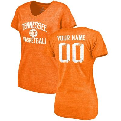 Tennessee Volunteers Women's Personalized Distressed Basketball Tri-Blend V-Neck T-Shirt - Tennessee Orange