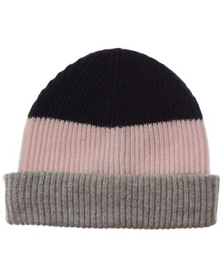 Amicale Cashmere Chunky Cuff Colorblocked Cashmere Beanie