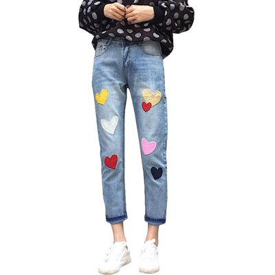 2018 New Women Jeans High Waist Cotton Straight Pleated Jeans Cute Colorful Love Heart Embroidery Jeans Ankle-Length Jeans #A025