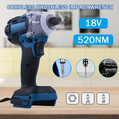 Cordless Impact Wrench Electric Power Tool 18V Rechargeable Brushless Motorized Wrench 1/2 Socket Handheld Tools Without Battery