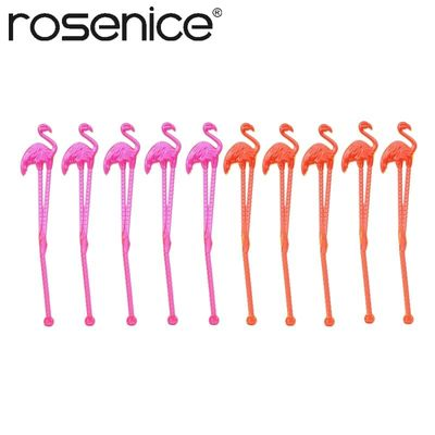 10pcs Flamingo Plastic Drink Stir Swizzle Sticks Frozen Drink Cocktail Bar Stirrer Decoration
