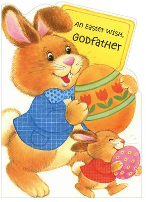 Freedom Greetings Big & Small Bunny Carrying Eggs: Godfather Easter Card