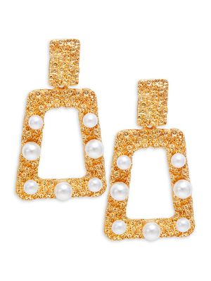 Kenneth Jay Lane Couture Collection Goldplated & White Faux Pearl Square Earrings