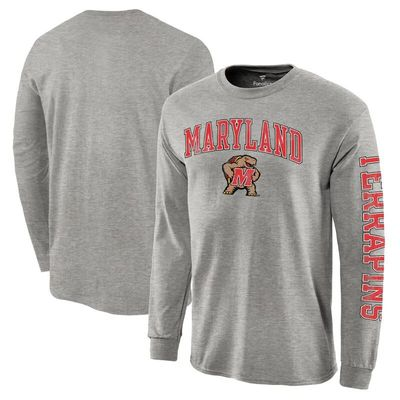 Maryland Terrapins Fanatics Branded Distressed Arch Over Logo Long Sleeve Hit T-Shirt - Gray