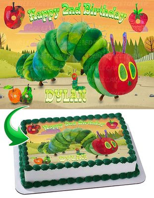 The Very Hungry Caterpillar Edible Cake Image Topper Personalized Picture 1/4 Sheet (8