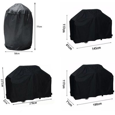 Black Waterproof BBQ Cover Heavy Duty BBQ Accessories Grill Cover Rain Anti Dust Cover Rain Gas Charcoal Electric Barbeque lid