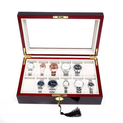 Luxury Red Wooden 12 Grids Watch Display Case Durable Packaging Holder Jewelry Collection Container Storage Organizer Box 2019