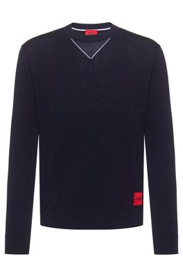 HUGO BOSS - Cotton Oversized Fit Sweater With Contrast Elements