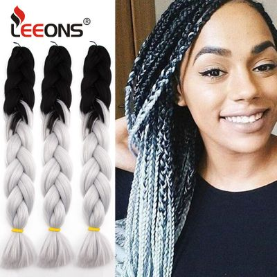 Leeons Wholesale100g 24inch High Temperature Fiber Jumbo Braid Hair Extension For Braids Ombre Synthetic Braiding Hair For Women