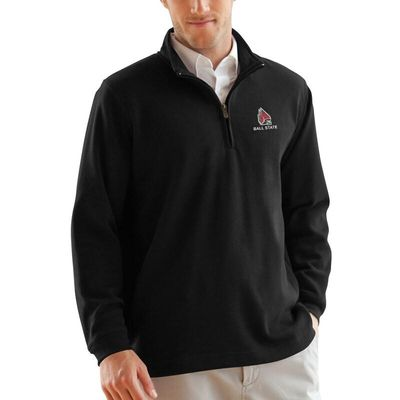 Ball State Cardinals Flat-Back Rib 1/4-Zip Pullover Sweater - Black