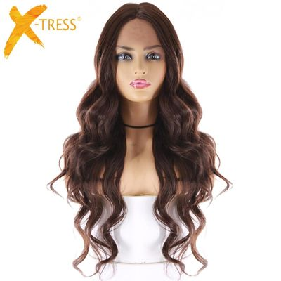 Medium Brown Synthetic Hair Lace Wigs For Women X-TRESS 24inch Long Wavy Lace Front Wig Middle Part  Heat Resistant Fiber Hair