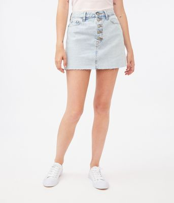 Aeropostale Real Denim High-Rise Exposed Button Mini Skirt